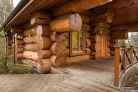 Cedar bath house under the key
