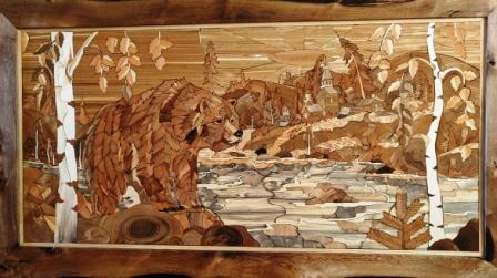 """The wooden painting """"Autumn"""" is made of wood cuts using the technique of Florentine mosaic"""