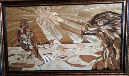 """The wooden picture """"Sands"""" is made of wood cuts using the technique of Florentine mosaic"""